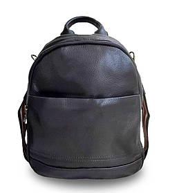 Жіночий шкіряний рюкзак чорний. Міський рюкзак для дівчат (84385)