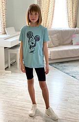 Летний костюм для девочки подростка удлиненная футболка+велосипедки