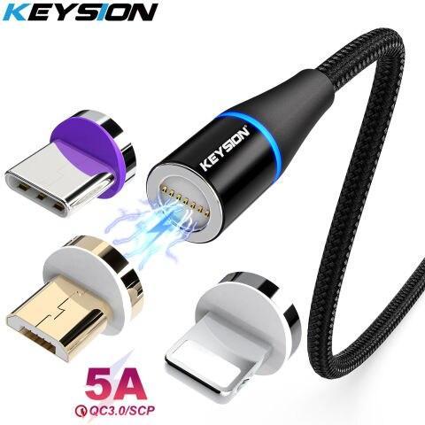 Магнітний світлодіодний кабель KEYSION 5A, тканинний Micro usb 1м.