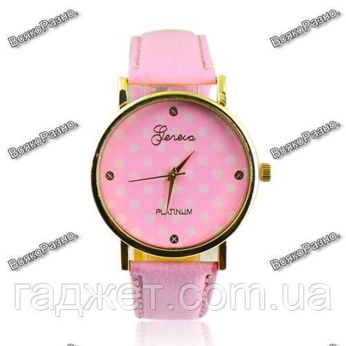 Женские часы Geneva Polka розового цвета