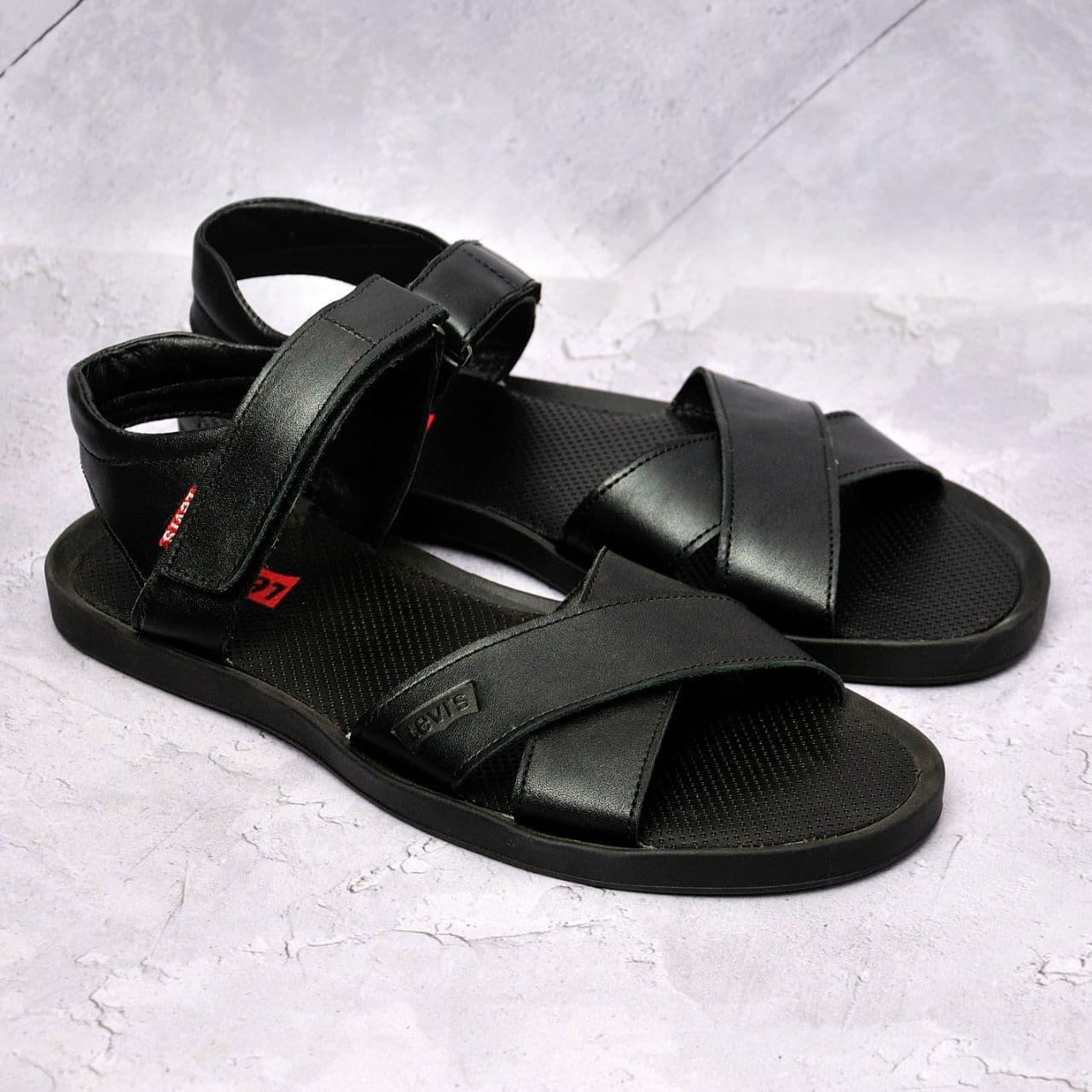 Чоловічі шкіряні сандалі Levis,чорні