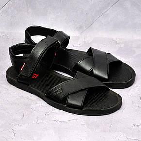 Чоловічі шкіряні сандалі Levis,чорні, фото 2