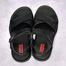 Чоловічі шкіряні сандалі Levis,чорні, фото 3