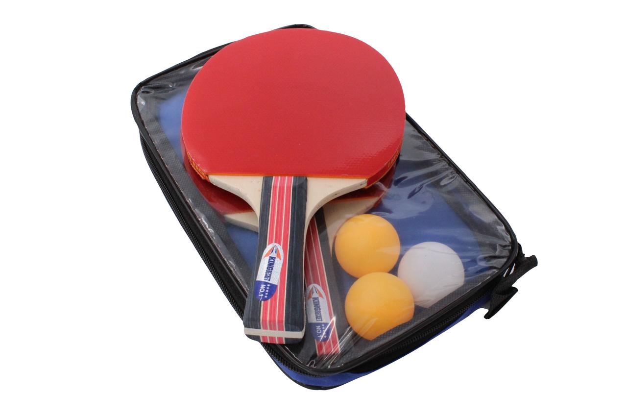 Ракетки для пінг-понгу набір для настільного тенісу TK Sport 2 ракетки + 3 кульки в чохлі