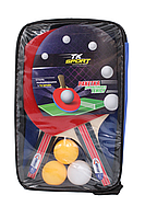 Ракетки для пінг-понгу набір для настільного тенісу TK Sport 2 ракетки + 3 кульки в чохлі, фото 4