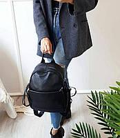 Жіночий шкіряний рюкзак. Рюкзак міський жіночий чорний (87115), фото 2