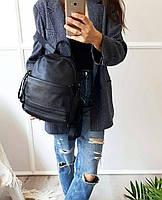 Жіночий шкіряний рюкзак. Рюкзак міський жіночий чорний (87115), фото 3