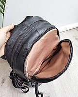 Жіночий шкіряний рюкзак. Рюкзак міський жіночий чорний (87115), фото 4