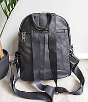 Жіночий шкіряний рюкзак. Рюкзак міський жіночий чорний (87115), фото 6