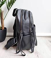 Жіночий шкіряний рюкзак. Рюкзак міський жіночий чорний (87115), фото 7