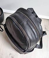 Жіночий шкіряний рюкзак. Рюкзак міський жіночий чорний (87115), фото 10