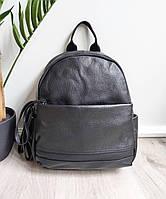 Жіночий шкіряний рюкзак. Рюкзак міський жіночий чорний (87115), фото 9