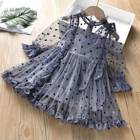 Нарядное воздушное платье на девочку 2-6 лет  голубое горох