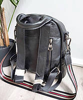 Рюкзак міський жіночий чорний. Жіночий шкіряний рюкзак (23515), фото 9