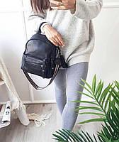 Рюкзак міський жіночий чорний. Жіночий шкіряний рюкзак (23515), фото 8