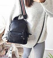 Рюкзак міський жіночий чорний. Жіночий шкіряний рюкзак (23515), фото 2
