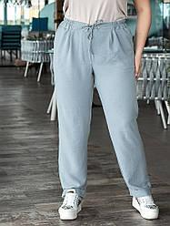Летние женские брюки большие размеры:пояс на резинке + кулиска