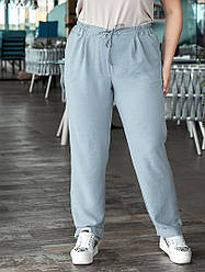 Літні жіночі штани великі розміри:пояс на резинці + куліска