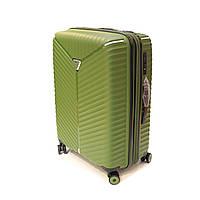 Дорожный фирменный чемодан средний на 70 л Snowball 05103 оливковый, фото 1