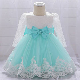 Нарядное детское платье на девочку  1-2 года бирюзовое