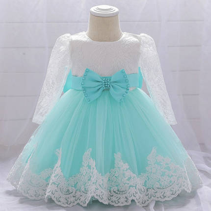 Нарядное детское платье на девочку  1-2 года бирюзовое, фото 2