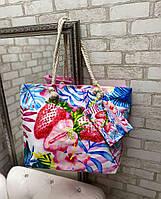 Большая пляжная сумка вместительная яркая из льна с веревочными ручками