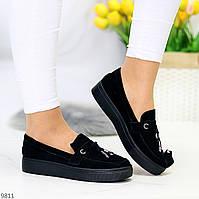 Актуальні стильні чорні жіночі туфлі мокасини натуральна замша