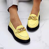 Актуальні жовті жіночі туфлі кріпери натуральна шкіра флотар з декором