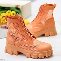 Дизайнерські модельні помаранчеві апельсинові літні жіночі черевики мартинсы весна-літо 38-24,5 см