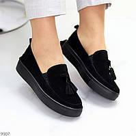 Актуальні стильні замшеві чорні жіночі туфлі кріпери натуральна замша
