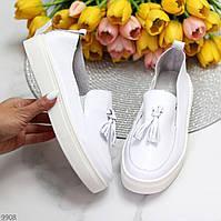 Актуальні стильні шкіряні білі жіночі туфлі кріпери натуральна шкіра