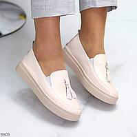Актуальні стильні шкіряні рожеві жіночі туфлі кріпери натуральна шкіра
