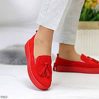 Актуальні стильні замшеві червоні жіночі туфлі кріпери натуральна замша