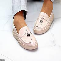 Модні повсякденні світлі нюдовые жіночі туфлі кріпери натуральна шкіра
