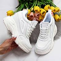 Трендові молодіжні білі жіночі кросівки снікерси на платформі 41-26,5 см