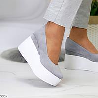 Актуальні сірі жіночі туфлі натуральна замша на платформі танкетці 40-26см