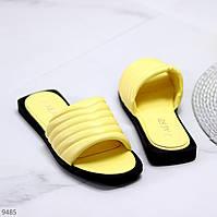 Стильні лаконічні жовті жіночі шльопанці шльопанці 36-23 см