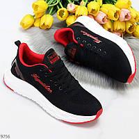 Зручні м'які текстильні червоні чорні жіночі кросівки 36-23,3 см