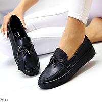 Актуальні стильні чорні жіночі туфлі мокасини натуральна шкіра