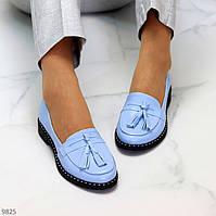 Практичні класичні блакитні жіночі мокасини з натуральної шкіри 36-23,5 / 38-24,5 см