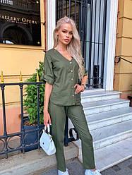 Льняний жіночий костюм двійка сорочка з ґудзиками+штани