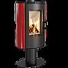 Кафельная печь-камин Kratki KOZA AB S/N/O/DR GLASS кафель красная (8,0 кВт)