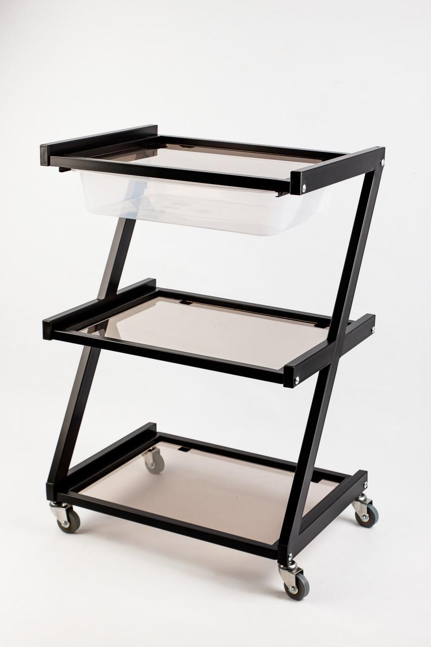 Тележка косметологическая черная столики косметологические стеклянные тележки для косметолога L_S18/1_Black