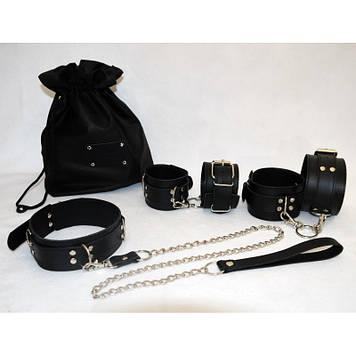 Эксклюзивный БДСМ набор с ВАШЕЙ НАДПИСЬЮ натуральная кожа наручники, ошейник, поножи, поводок BDSM , +18