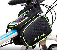 Велосумка - чехол для смартфона B-SOUL, крепление на раму, два боковых кармана