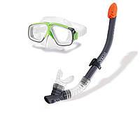 Набор для плавания маска с трубкой Intex 55949: от 8 лет Green-Gray