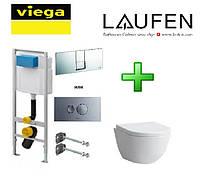 Набор инсталляция Viega 3в1 713386 + унитаз подвесной Laufen Pro Rimless 820966+891961 без ободка + сидение на унитаз