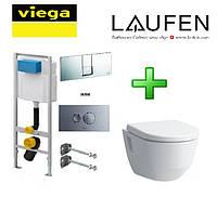 Набор инсталляция Viega 3 в 1 713386 + унитаз подвесной Laufen Pro Rimless 820964+891961 без ободка + сидение на унитаз (С УШКАМИ)