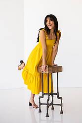 Легкое коттоновое платье миди на широких бретелях-рюшах свободного кроя в 4 цветах в размере S, M, L.