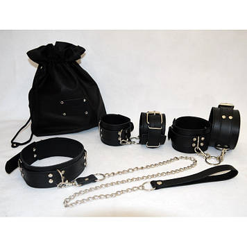 Эксклюзивный БДСМ набор с ВАШЕЙ НАДПИСЬЮ натуральная кожа наручники, ошейник, поножи, поводок BDSM Bomba💣
